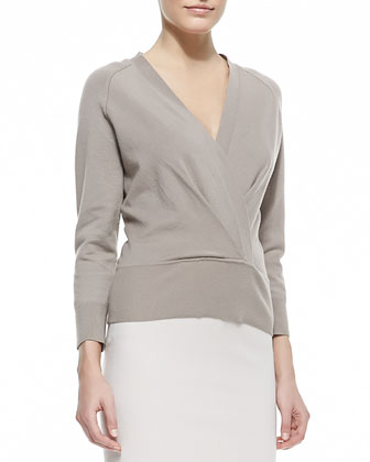 Cashmere Faux-Wrap Top, Dusty Rose
