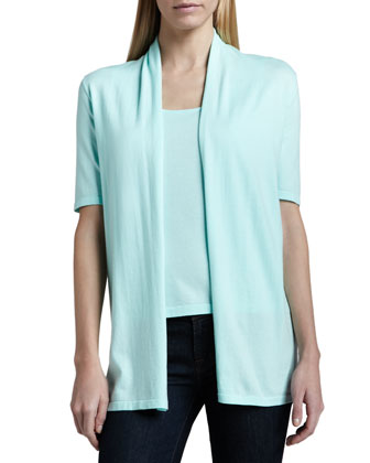 Half-Sleeve Draped Cardigan & Sleeveless Knit Tank