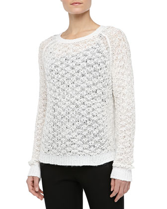 Textured Crewneck Sweater, White