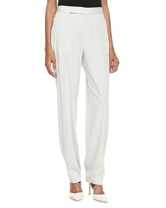 High-Waist Pleated Pants, Ash White