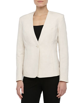 One-Button Linen-Blend Blazer, Warm Cement