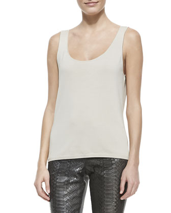 Silk Charmeuse Tank, Bone