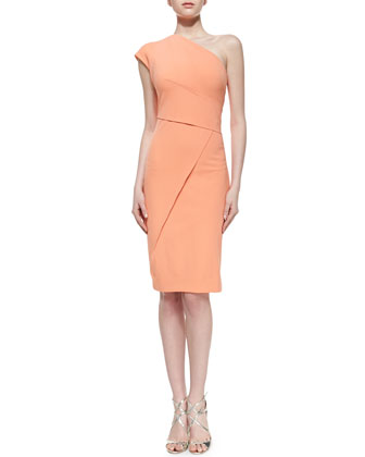 Super-Stretch One-Shoulder Dress, Guava Souffle
