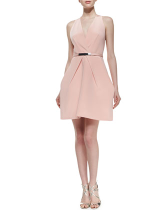Sleeveless Crepe Short Dress, Pink Champagne