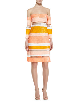 Amalfi Sequin-Striped Sheer Dress