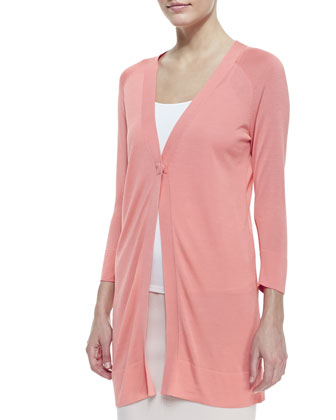 Ultrafine Silk-Cashmere Long Cardigan, Guava Souffle