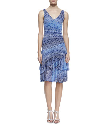 Pippa Asymmetric Tiered-Skirt Silk Dress, Catalina