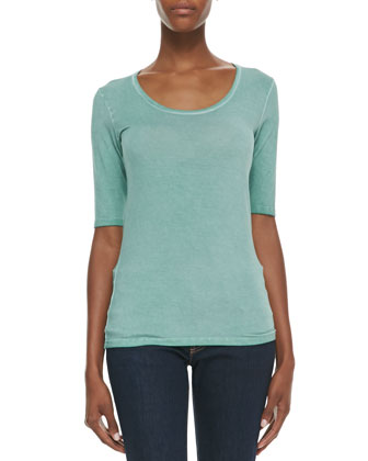 Soft Touch Elbow-Sleeve Scoop-Neck Tee, Vert (Green)