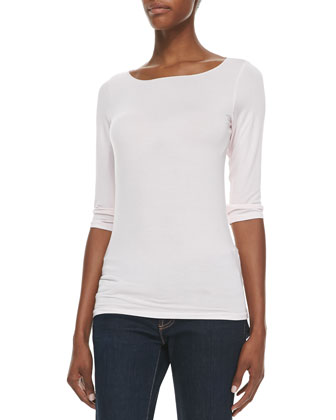 Soft Touch Marrow-Edge 3/4-Sleeve Boat-Neck Tee