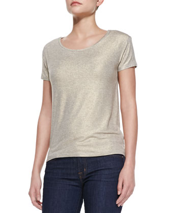 Short-Sleeve Metallic Soft Touch Tee