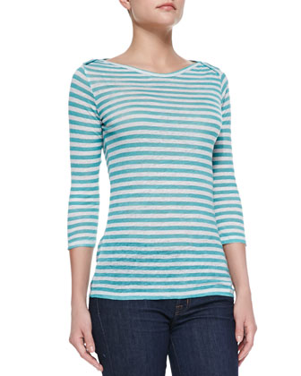 Striped Linen Boat-Neck Tee