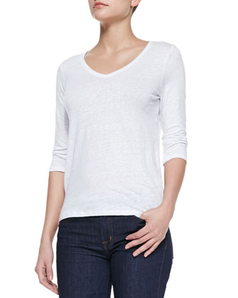 V-Neck Linen-Stretch Tee