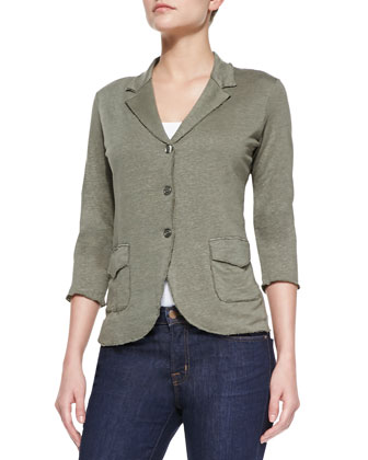 Stretch-Linen Knit Blazer