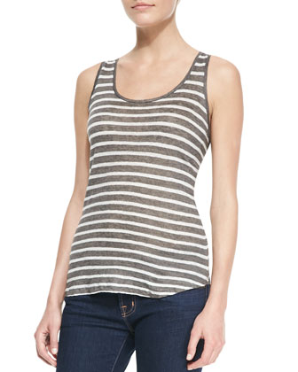 Striped Linen-Slub Tank