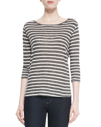 Striped Linen-Slub Boat-Neck Top