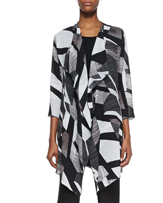 Fragmented Draped Long Jacket, Sleeveless Knit Tunic & Stretch Knit Slim ...