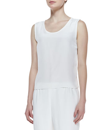 Long Crepe Tank, White, Women's