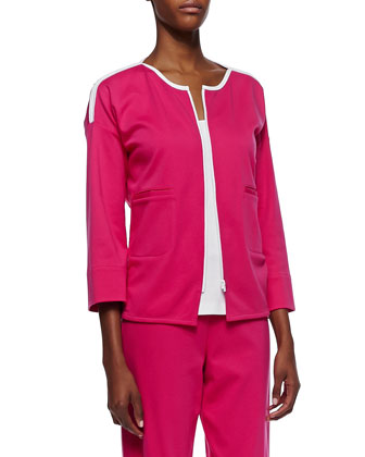 Contrast-Trim Zip-Front Jacket, Petite