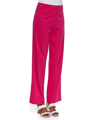 Interlock-Knit Full-Length Pants, Petite
