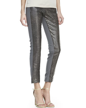 Python-Front Cropped Pants