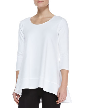 Interlock-Knit High-Low Tunic & Stretch-Knit Cropped Leggings, Petite