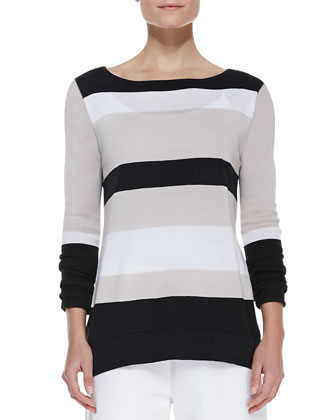 Bold-Striped Knit Easy Tunic, Women's