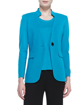 Jersey One-Button Jacket & Scoop-Neck Sleeveless Tank Top & Fit & Knit ...