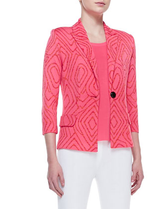 Pattern-Detail Jersey Jacket, Women's