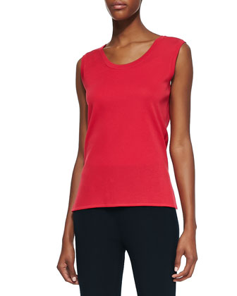 Sleeveless Knit Tank, Red, Petite