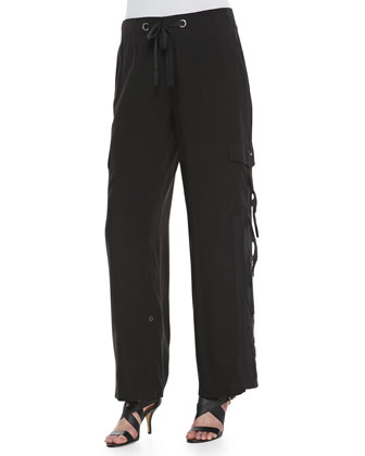 Silk Cargo Pants, Black, Women's