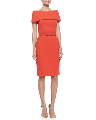 Off-Shoulder Cocktail Dress with Bow Belt, Orange/White