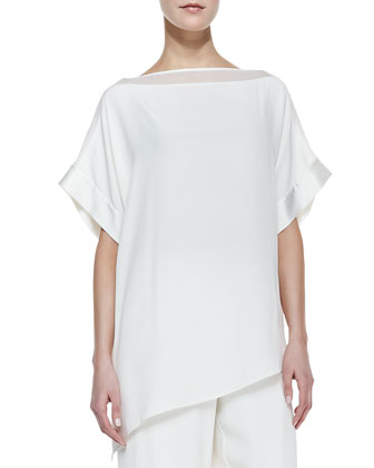 Silk Boat-Neck Easy Tunic & Full-Leg Pants, Petite