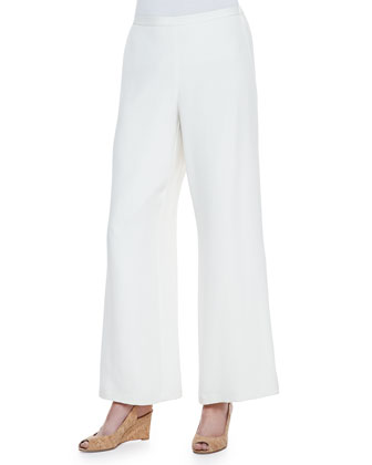 Silk Boat-Neck Easy Tunic & Full-Leg Pants, Petite