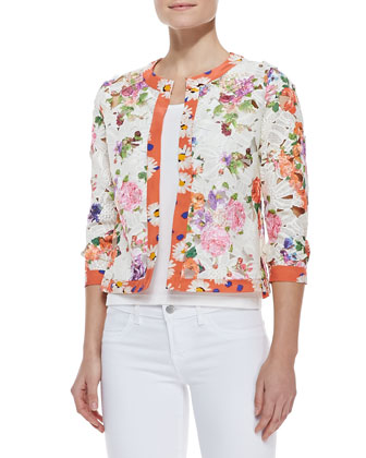 Floral-Print Lace Cardigan & Solid Jersey Shell Top, Petite