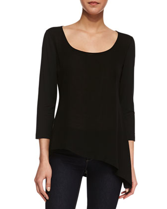 Asymmetrical Voile Long-Sleeve Top, Black