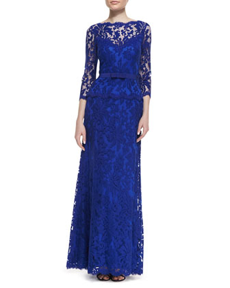 3/4-Sleeve Lace Gown with Bow Belt, Marina Blue
