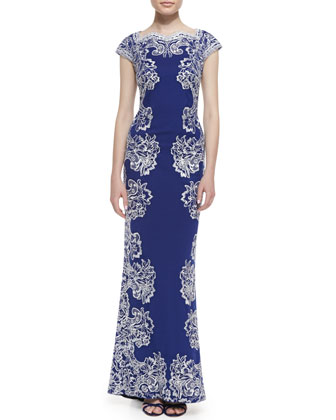 Contrast Embroidered-Knit Maxi Dress