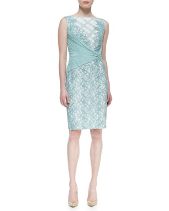 Sleeveless Mixed-Lace Side-Wrap Dress, Mint