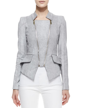 Giovanna Faux Leather Double-Zip Jacket, Sting Ray Gray