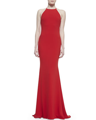 Sleeveless Halter-Neck Mermaid Gown, Red
