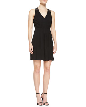 Sleeveless Beaded-Back Cocktail Dress, Black