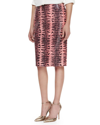 Printed Lambskin Leather Pencil Skirt