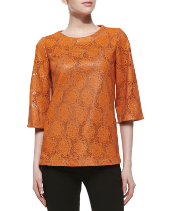 Lace-Cut Lambskin Top, Persimmon
