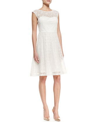 Cap-Sleeve Eyelet Fit-and-Flare Cocktail Dress, White