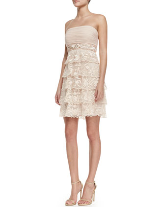 Strapless Tiered-Lace Cocktail Dress, Blush