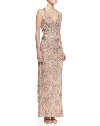 Sleeveless V-Neck Embroidered Column Gown, Beige