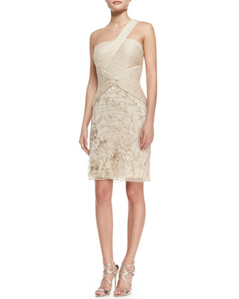 One-Shoulder Embroidered Skirt Cocktail Dress, Champagne