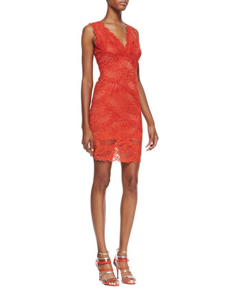Sleeveless Swirled-Lace Cocktail Dress, Melon