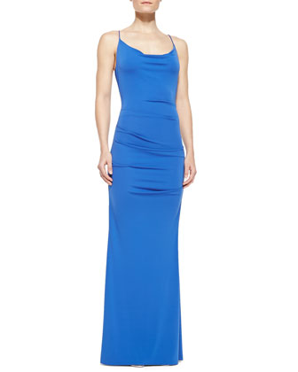 Spaghetti-Strap Ruched Gown, Classic Blue