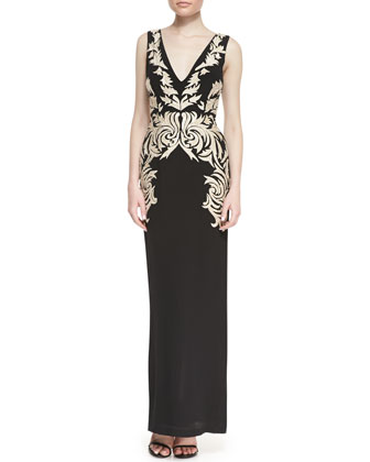 Sleeveless Applique Leaf Column Gown, Black/Gold